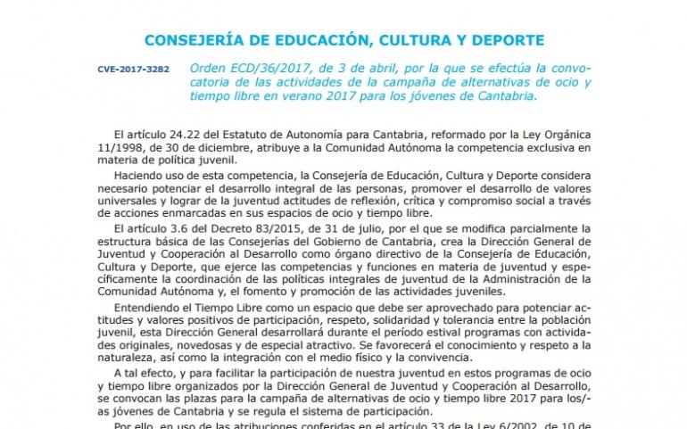 Abierto el plazo para los Campamentos de Verano del Gobierno de Cantabria